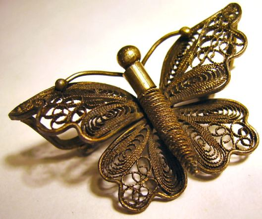 Victorian costume jewellery, a filligree butterfly, one of my own collection.