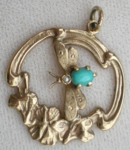 Art Nouveau pendent depicting a dragonfly