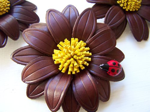 HandMade contemperary leather Ladybird + Flower broach.